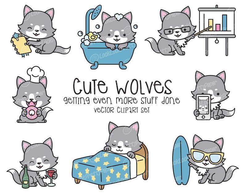 Premium vector cute wolves. Wolf clipart kawaii