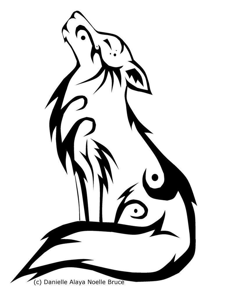 Wolf clipart line. Tribal howling clip art