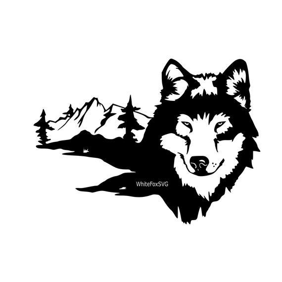 Svg tattoo fierce animal. Wolf clipart mountain