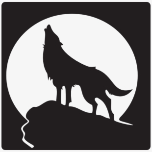 Banner black and white. Wolf clipart mountain