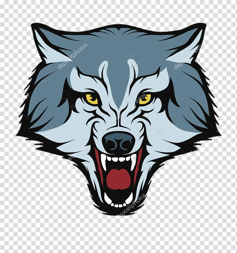 Wolf clipart mouth. Gray head illustration logo