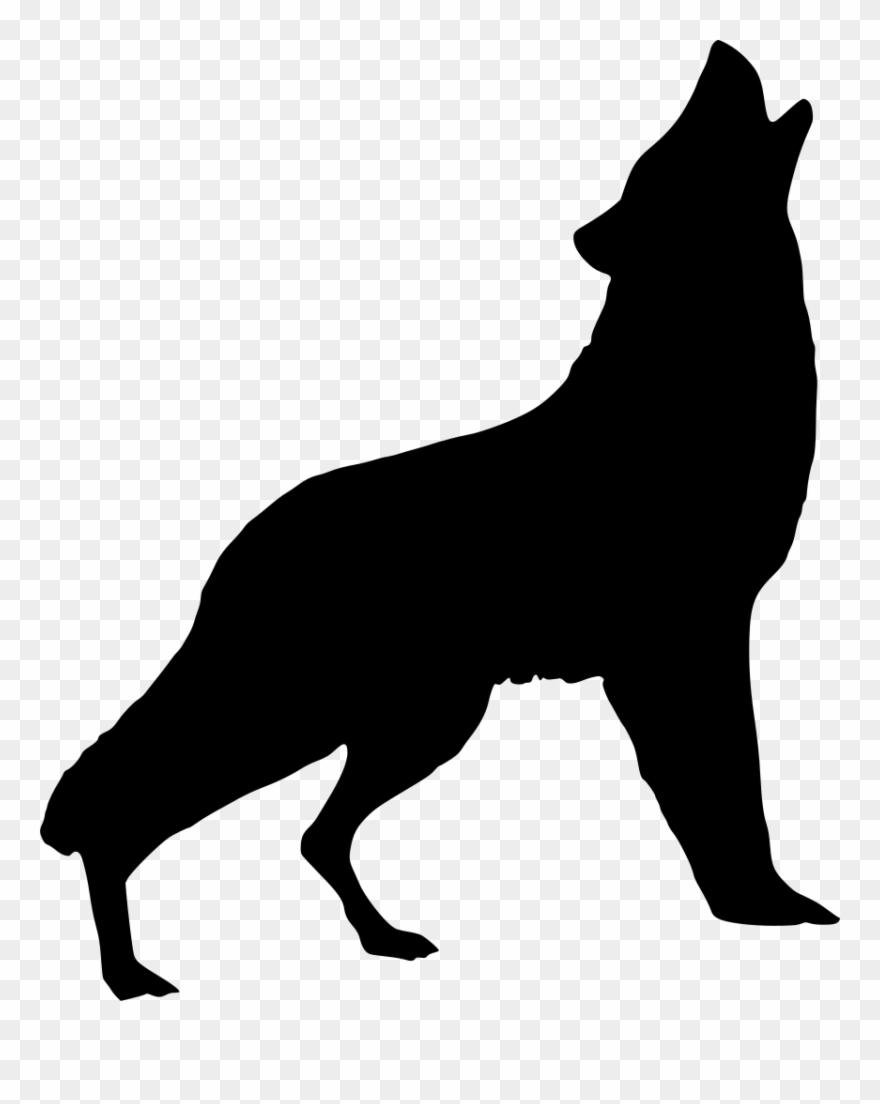 Silhouette wolf howling art. Wolves clipart nature