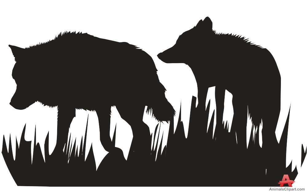 Walking in silhouette free. Wolves clipart nature