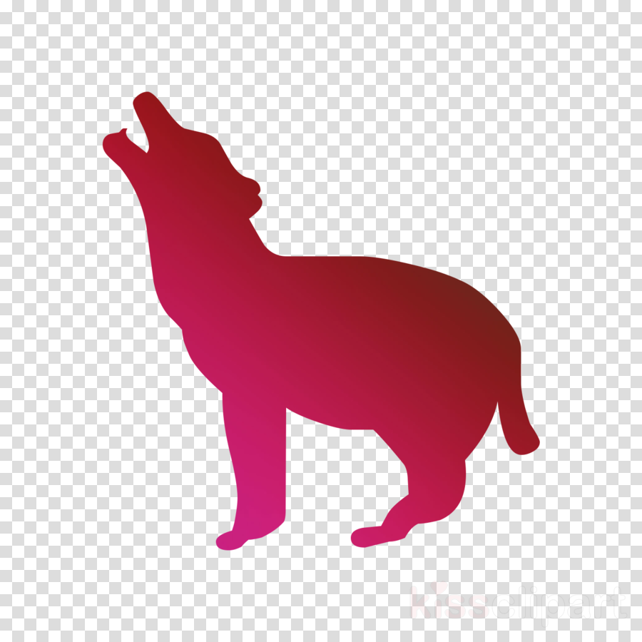 Cartoon silhouette drawing . Wolf clipart pink
