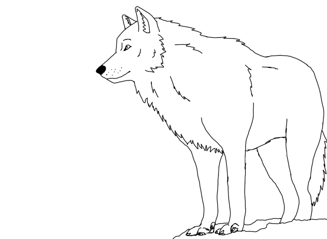 Wolf clipart snow. Outlines by blacklightning on