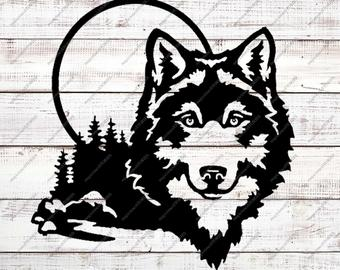 Wolf clipart svg. Etsy