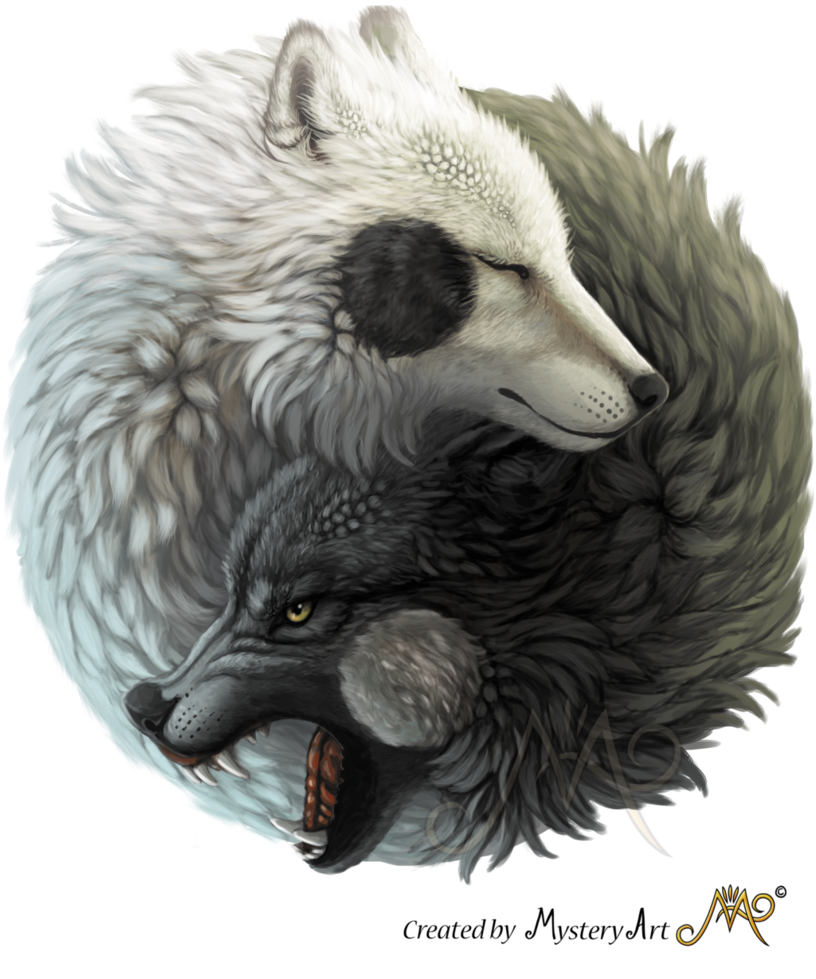 Wolf clipart watercolor. Yin yang wolves by