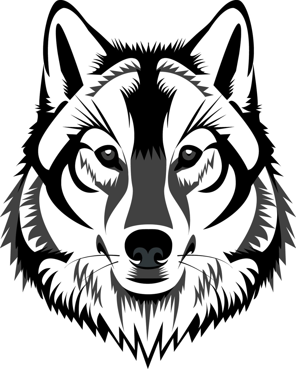 Wolf clipart wolf head. White pencil and in