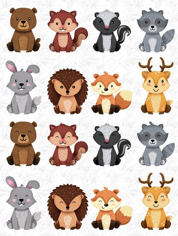 Woodland clipart cut out. Animals bundle wolf fox