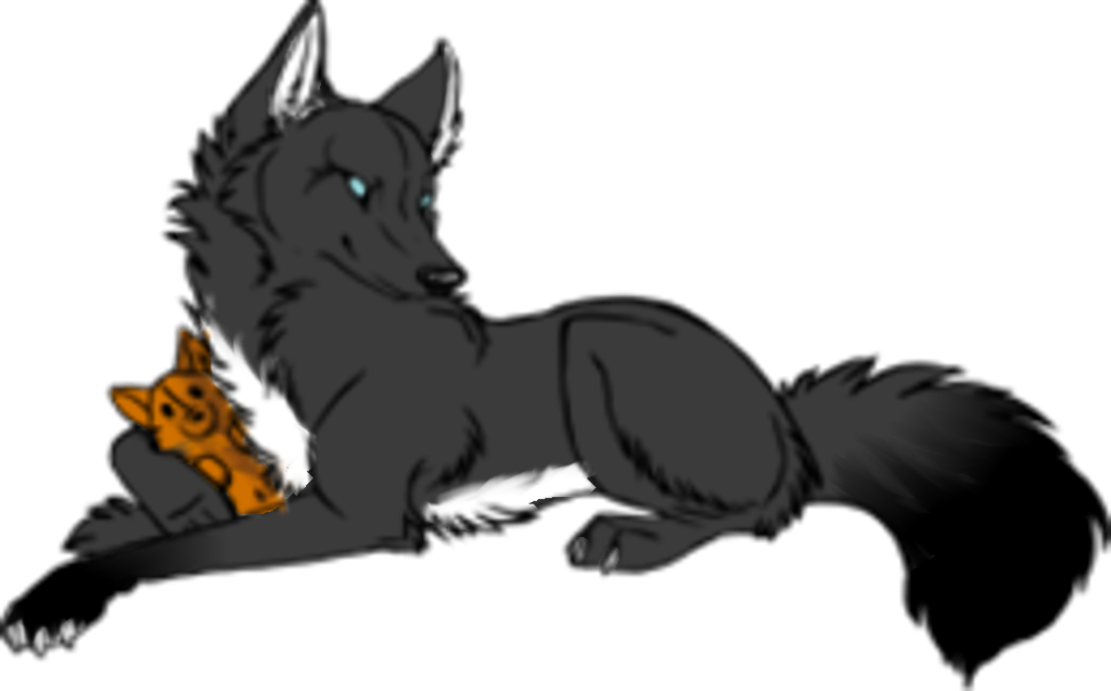 Wolf with teddy by. Wolves clipart bear