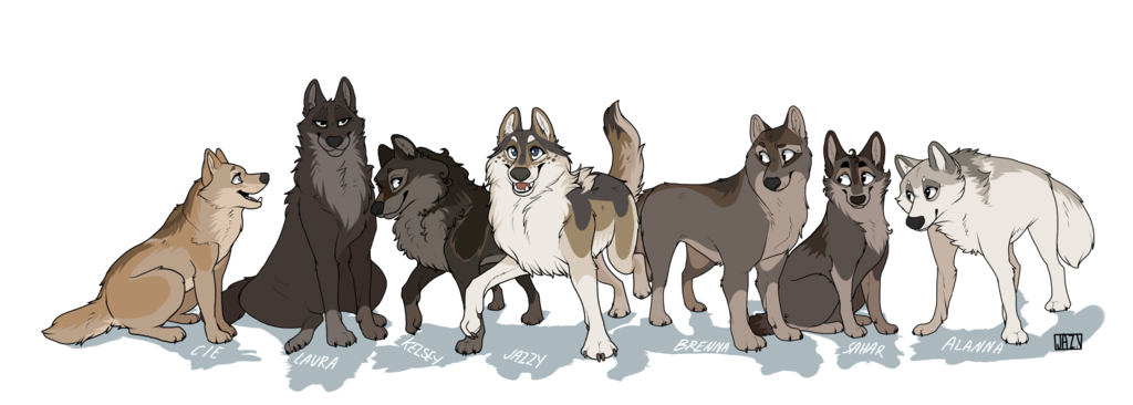 Wolves clipart color. Pack of drawing at