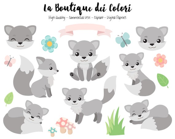 Wolves clipart cute. Gray fox digital graphics