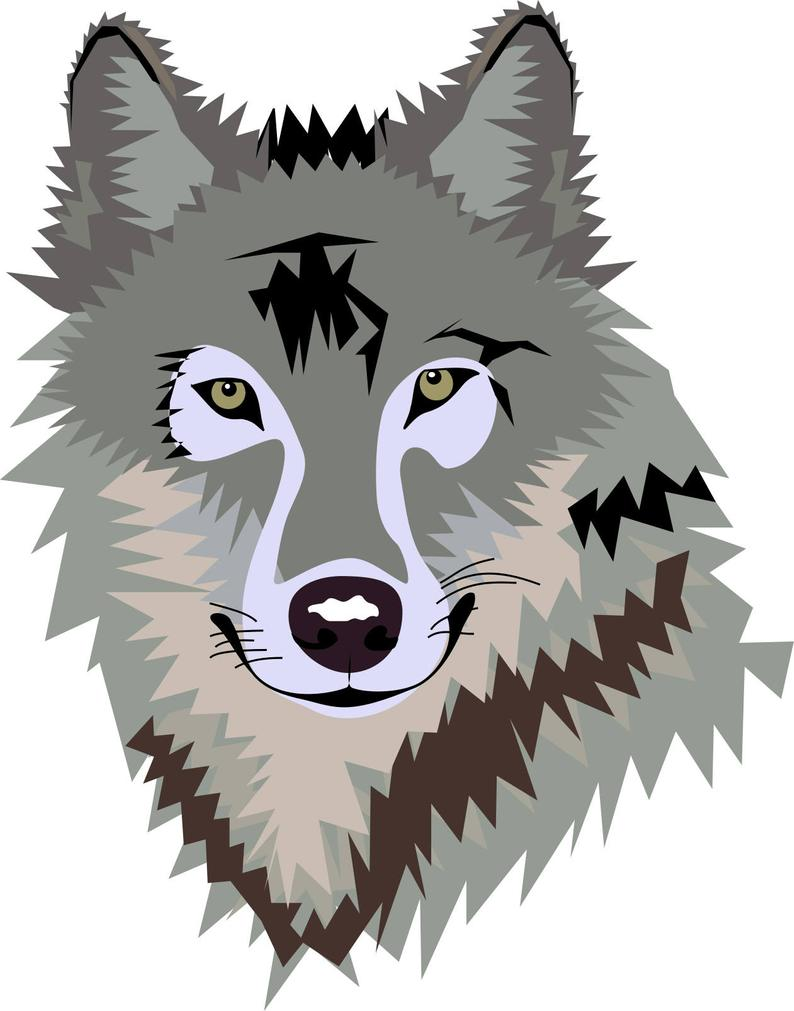 Wolves clipart eps. Gray silver wolf in