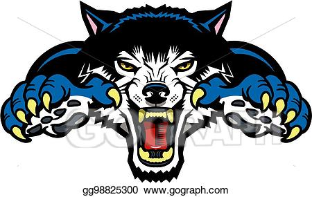 Vector wolf mascot stock. Wolves clipart eps