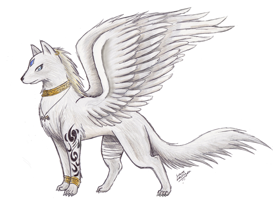 With wings awesome drawings. Wolves clipart female wolf