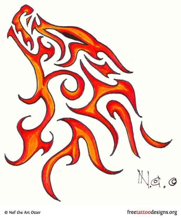 Wolves clipart fire. Fiery wolf tattoo art