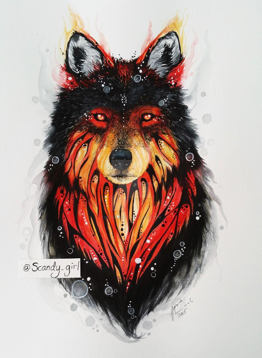 Wolf by scandycurll deviantart. Wolves clipart fire