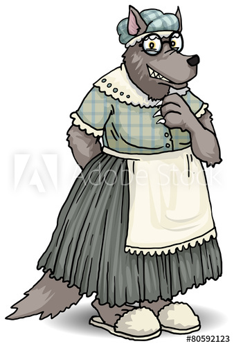 Wolves clipart grandma. Wolf dressed like disguise
