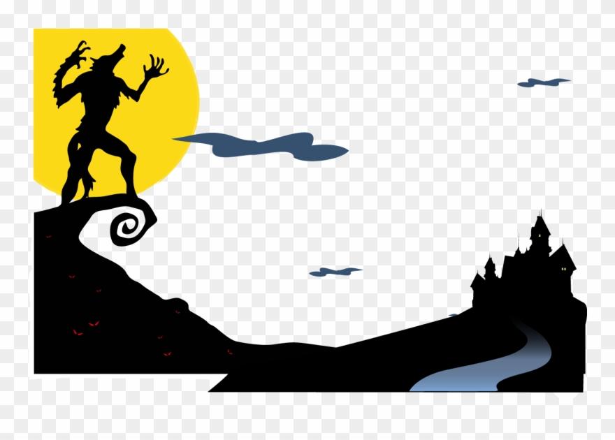 Werewolf gray wolf wall. Wolves clipart halloween