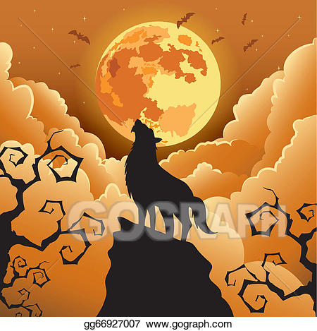 Wolves clipart halloween. Eps vector wolf howling