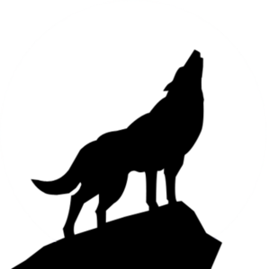 Howling silhouette psd clip. Wolf clipart hill