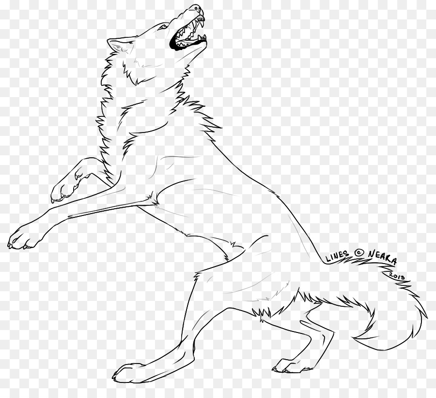 Black background wolf drawing. Wolves clipart line