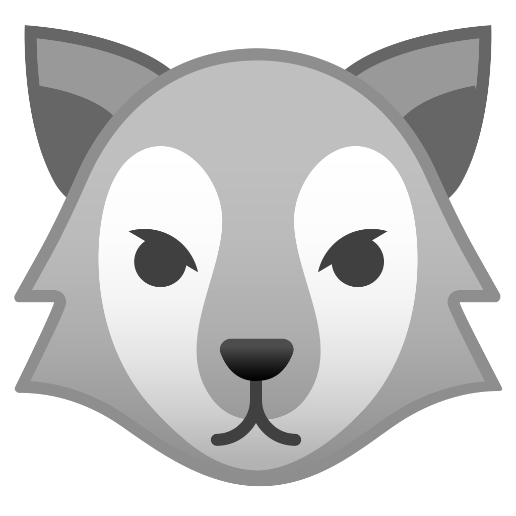 Wolves clipart nose. Wolf face icon noto