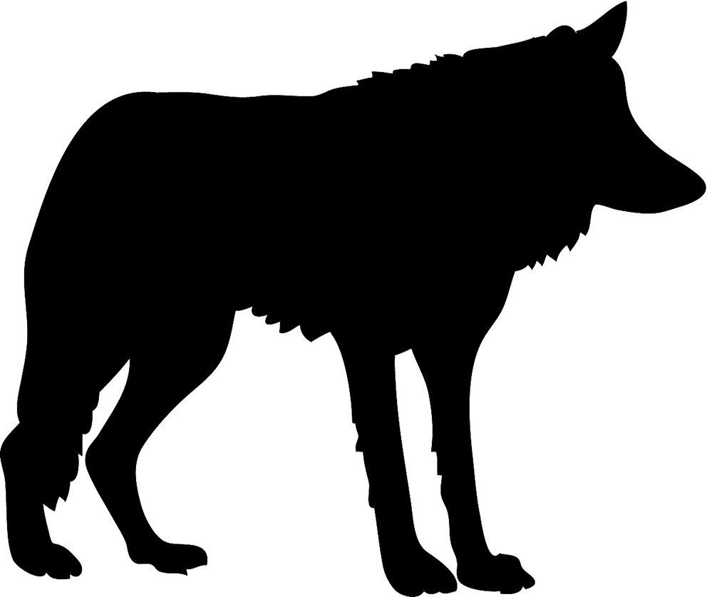 Wolves clipart silhouette. A black wolf is