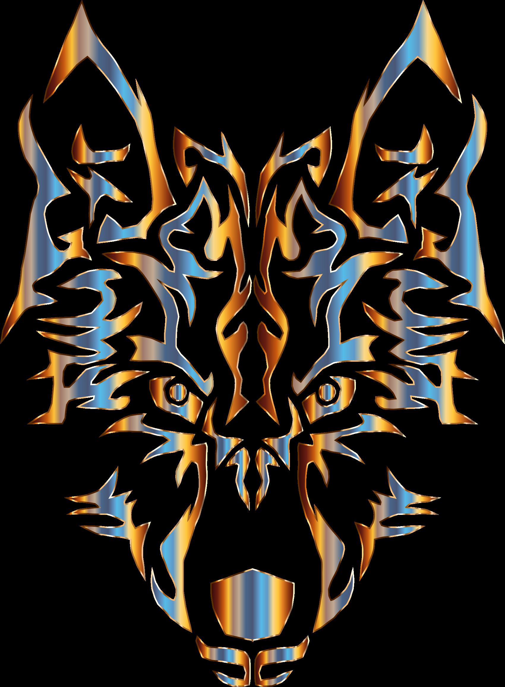 Chromatic symmetric wolf no. Wolves clipart tribal