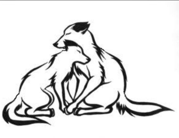 Wolves clipart two wolf. Love tribal tattoo mates