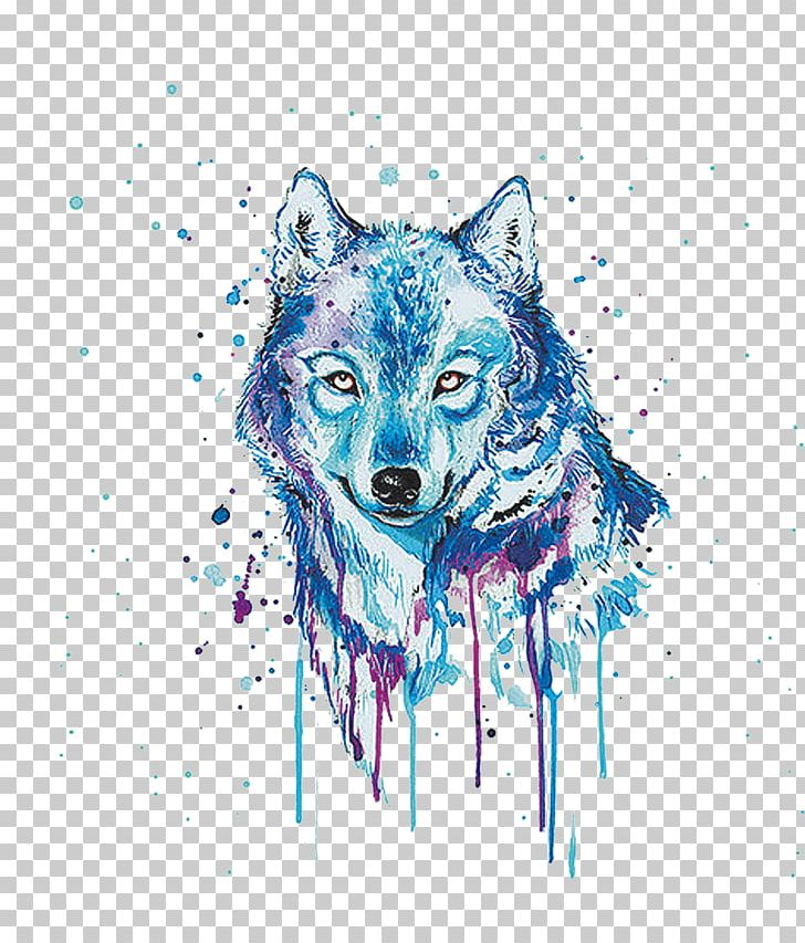 Gray wolf painting oil. Wolves clipart watercolor