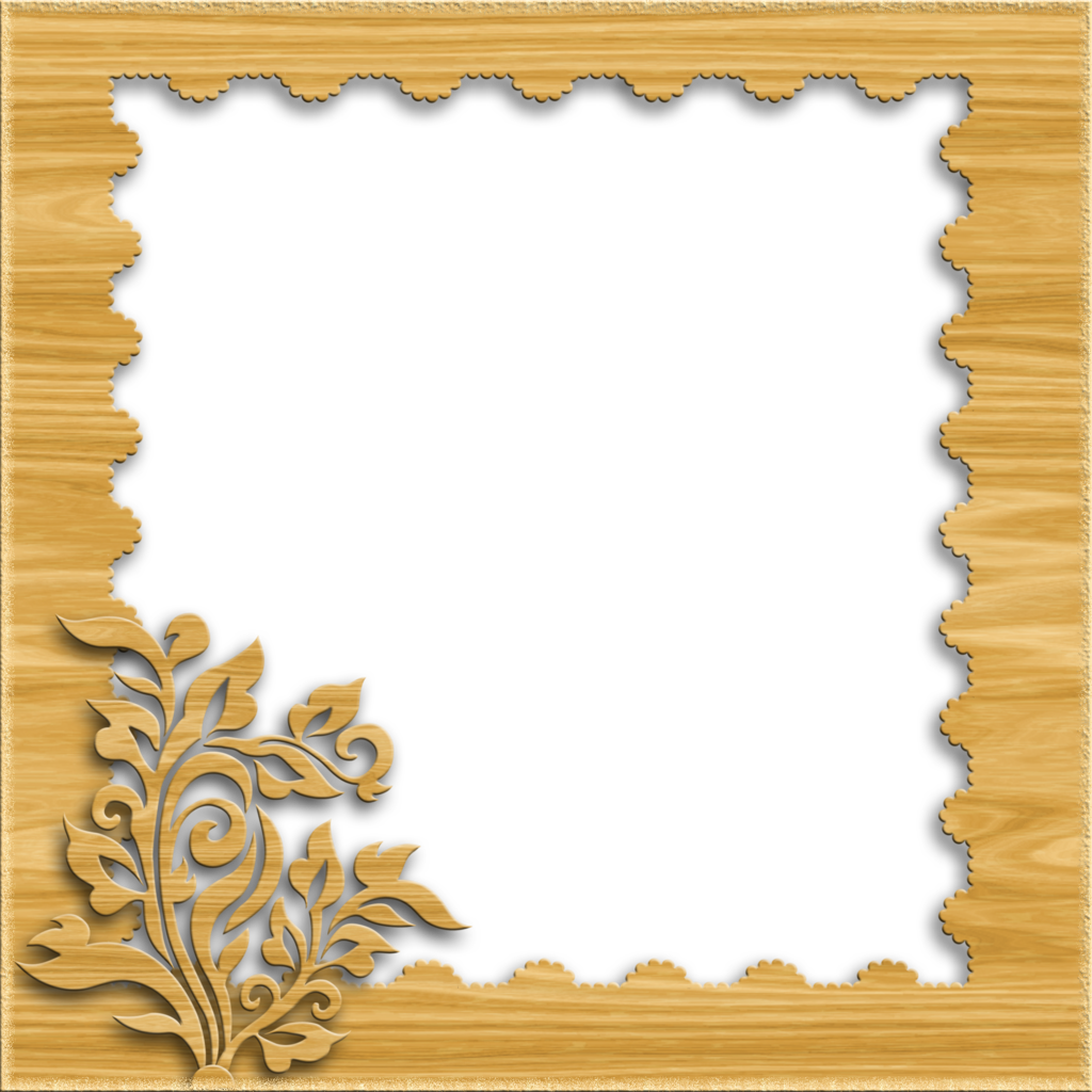Wooden frame png. Decorative light wood by