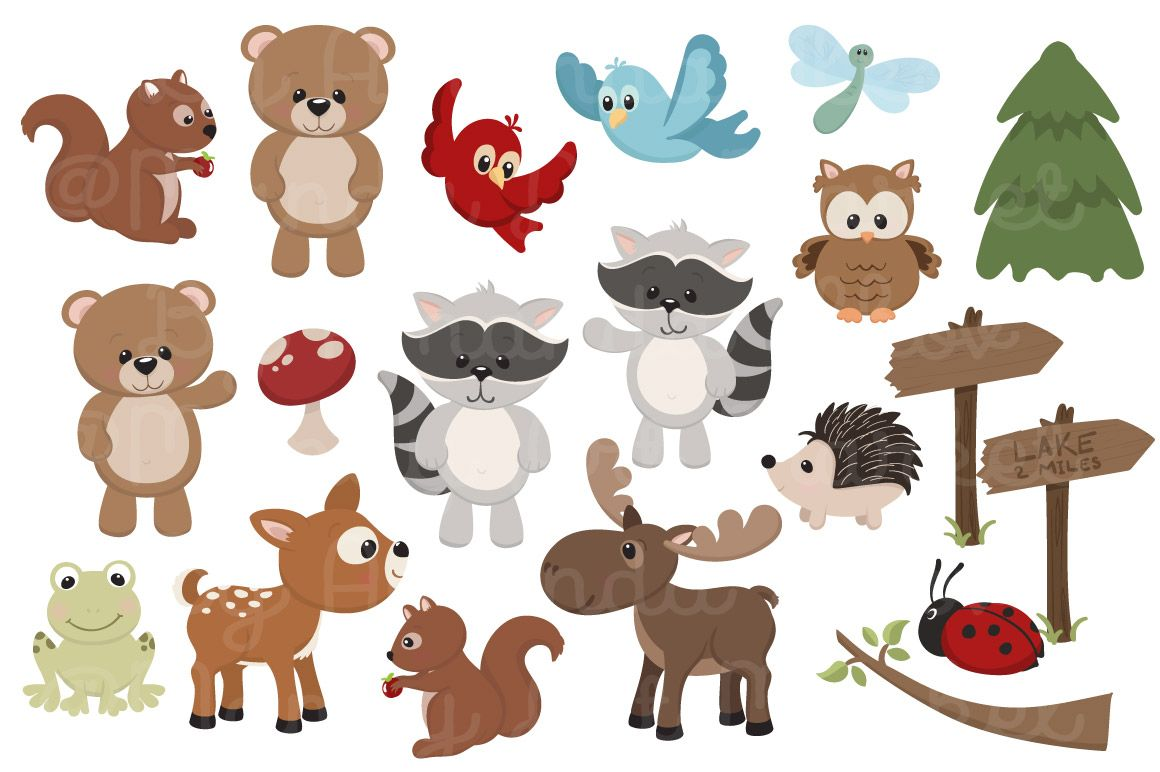 Adorable free and digital. Animals clipart woodland