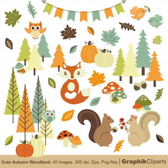 Woodland clipart. Cute autumn fox trees