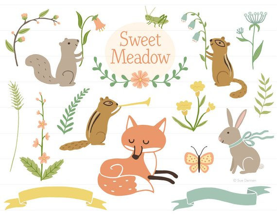 Woodland clipart. Clip art baby shower