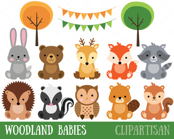 Animal clip art baby. Woodland clipart