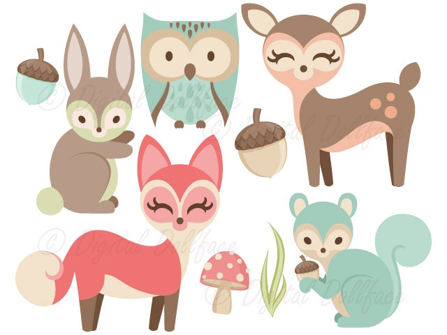 Fox owl deer bunny. Animals clipart woodland
