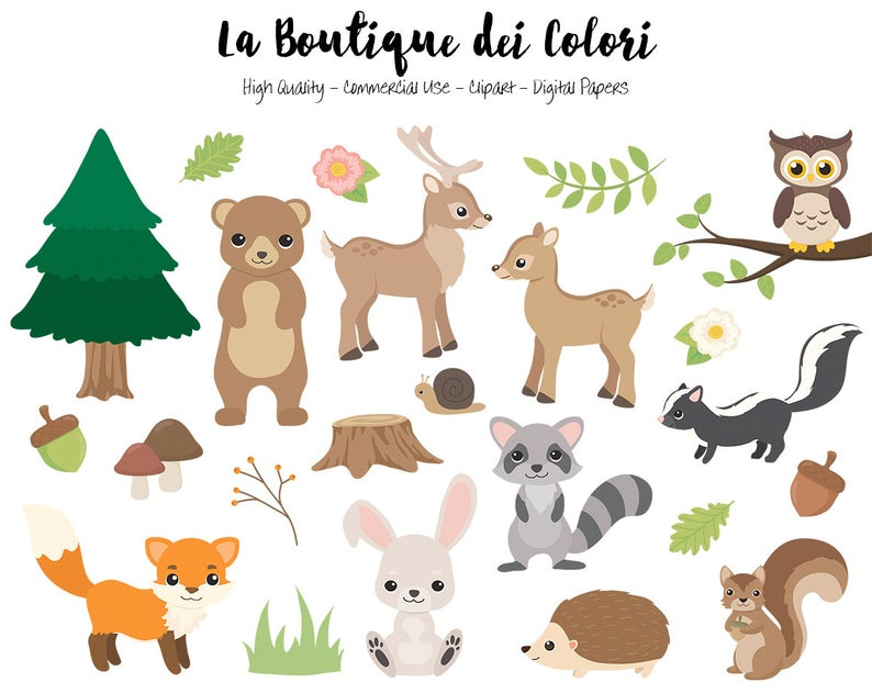 Animals cute digital graphics. Woodland clipart accessory