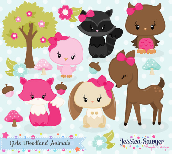 Woodland clipart accessory. Instant download girls animals