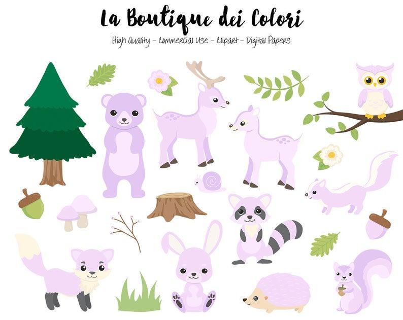 Woodland clipart accessory. Purple animals cute graphics