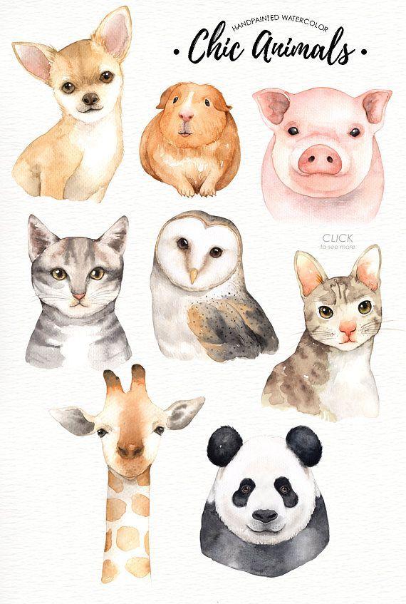 Chic animals watercolor clip. Woodland clipart accessory