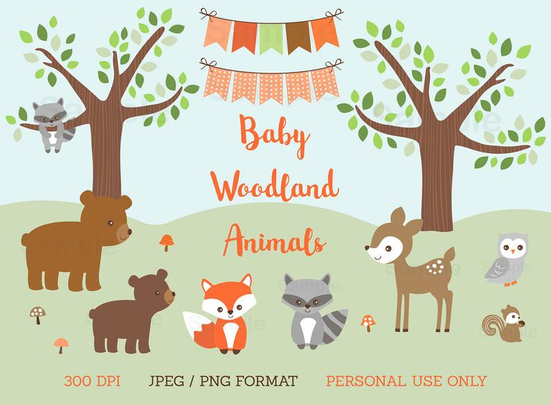 Woodland clipart animal canada. Baby shower forest animals