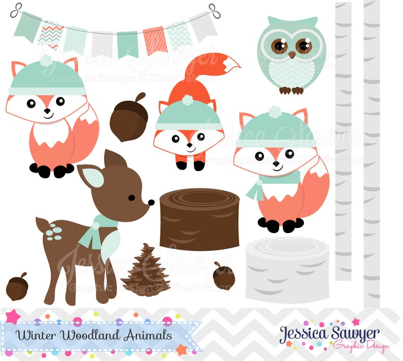 Woodland clipart artwork. Instant download winter clip