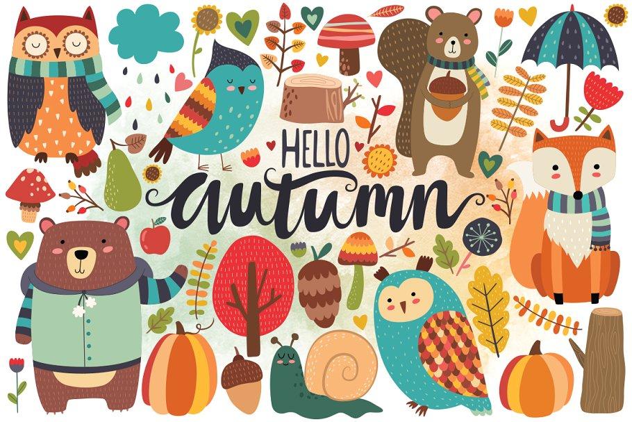 Woodland clipart autumn. Bundle illustrations creative market
