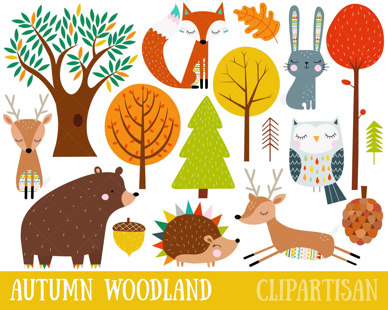 Woodland clipart autumn. Fall clip art cute