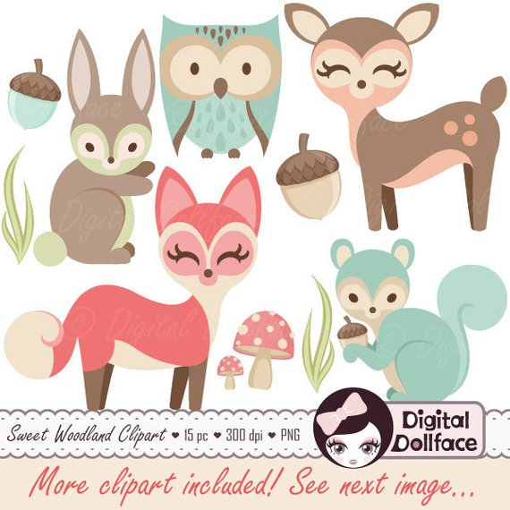 Woodland clipart baby girl. Nursery animals clip art