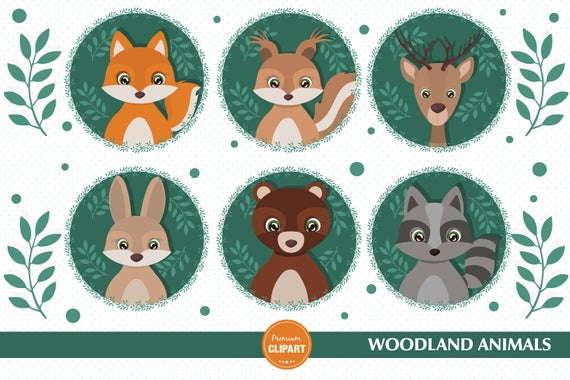 Animals shower forest clip. Woodland clipart baby woodland animal