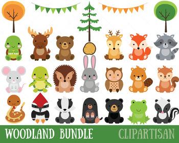 Clip art bundle . Woodland clipart baby woodland animal