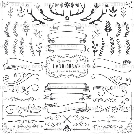 Woodland clipart banner. Floral antlers banners flourishes