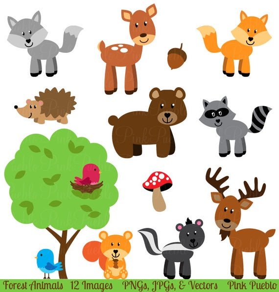 Woodland clipart barnyard. Forest animal clip art